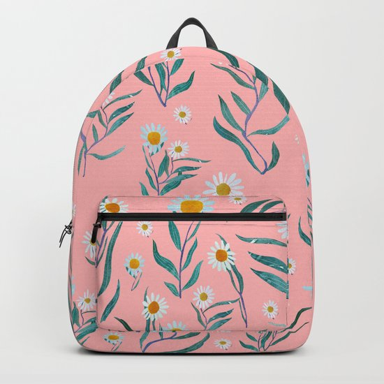 Pink white leaves Backpack