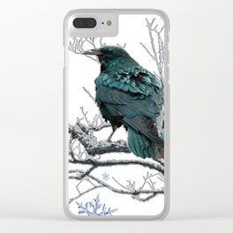 CROW/RAVEN IN WINTER TREE & SNOWFLAKES Clear iPhone Case