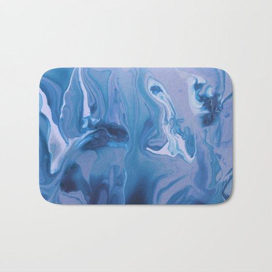 Watercolor marble blue & purple Bath Mat