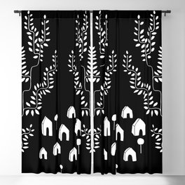 Line Vine Village Line Art Illustration in Black Blackout Curtain