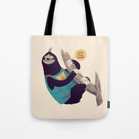 sloth Tote Bags featuring sloth by Louis Roskosch