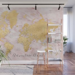 """Adventure awaits, gold and pink marble detailed world map, """"Sherry"""" Wall Mural"""