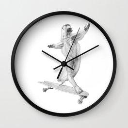 Lemur on the board Wall Clock
