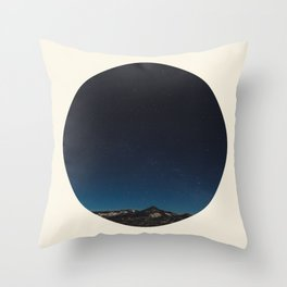 Mountain Against Beautiful Ombre Blue Sky & Star Sky Throw Pillow
