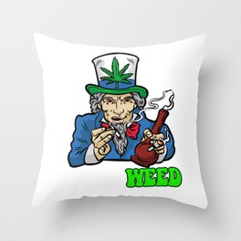 I WANT WEED Smoking Joint Bong Grass 420 Dope Pot Throw Pillow