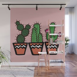 Cute Cacti In Pink Wall Mural