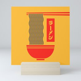 Ramen Japanese Food Noodle Bowl Chopsticks - Yellow Mini Art Print