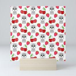 Cute little happy grey little baby Schnauzer puppies, yummy red sweet summer strawberries and funny Kawaii cherries white fruity pattern design. Mini Art Print