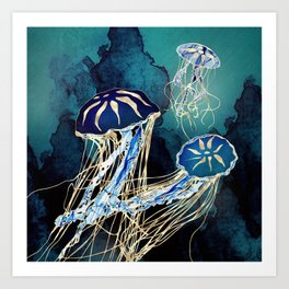 Metallic Jellyfish III Art Print
