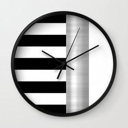 Black & White Stripes & Silver Metallic Accent Wall Clock
