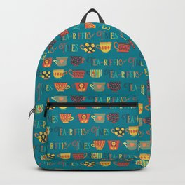 Tea-riffic Times. Retro inspired tea cups - teal Backpack