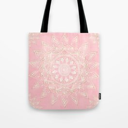 Elegant White & Gold Mandala Blush Pink Design Tote Bag
