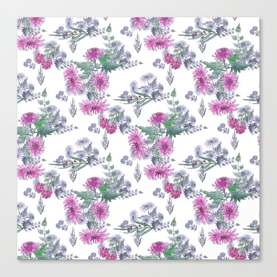 Watercolor floral pattern . 11 Canvas Print
