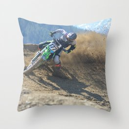Dishing the Dirt - Motocross Champion Race Throw Pillow