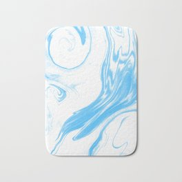 Suminagashi 2 blue and white marble spilled ink ocean swirl watercolor painting Bath Mat