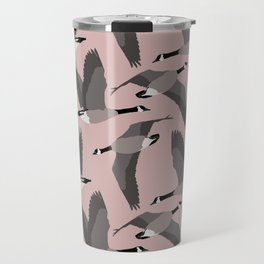 Canada Geese Flying in Buff Travel Mug