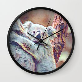 Painted Koala Baby Wall Clock