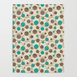 Brown and turquoise Poster