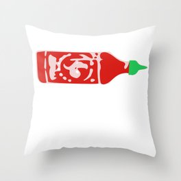 Siracha Over Everything Funny Hot Sauce Gift Throw Pillow