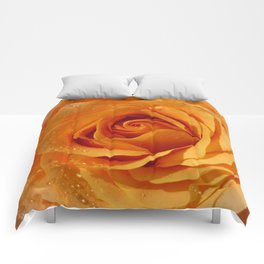 Gold Rose Bud- Orange Roses and flowers Comforters