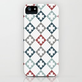 Modern Farmhouse Quilt Pattern Vintage Inspired NorthStar and Diamond Harlequin Print iPhone Case
