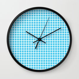 White On Blue Grid Wall Clock