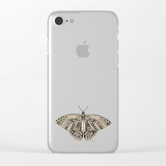 swallowtail butterfly dusk black Clear iPhone Case
