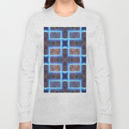 geometric ink blot and smudge ancient techno geek pattern Long Sleeve T-shirt