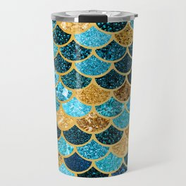 Glitter-Bling Blues, Aquas, & Gold Mermaid Scales Travel Mug