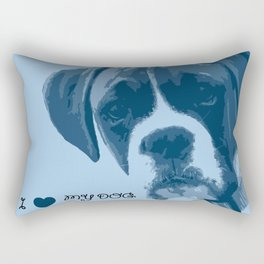 I love my dog - Boxer, blue Rectangular Pillow
