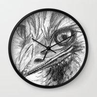 ostrich Wall Clocks featuring Ostrich  by Juliette Caron