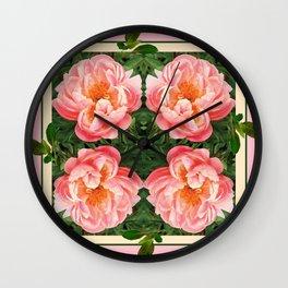 GEOMETRIC PATTERN OF PINK PEONIES GARDEN Wall Clock