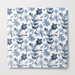 Monochrome Blue Alpine Flora Metal Print