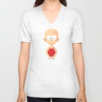 apple V-neck T-shirts featuring Apple by Lemon Liu