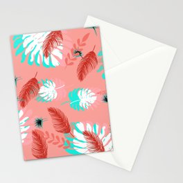 Coral and Teal Tropical Leaves Stationery Cards