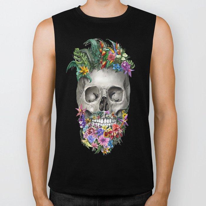 floral beard skull Biker Tank