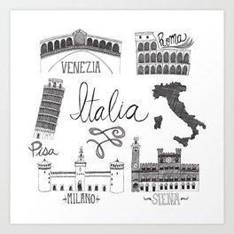 Italian Landmarks Art Print