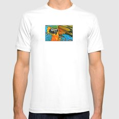 Parrot  White Mens Fitted Tee SMALL
