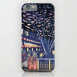 Koizumi Kishio - New Yoshiwara Nakano Street, Night Cherry Blossoms - Digital Remastered Edition iPhone Case