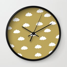 White clouds in green yellow background Wall Clock