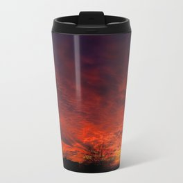 Red sunset and trees silhouette in Warsaw Travel Mug