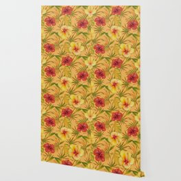 Leave And Flowers Pattern Wallpaper