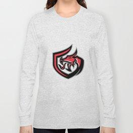 Dragon Breathing Fire Side Shield Retro Long Sleeve T-shirt