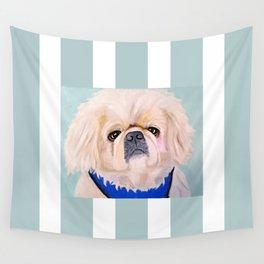 Peke Augie Blue Harness Wall Tapestry