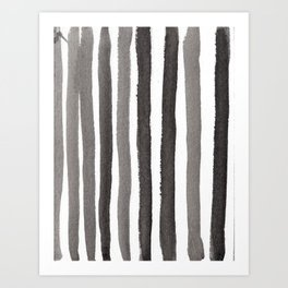 Grey Stripe Abstract Painting Art Print