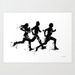 Runners in ink Art Print