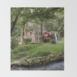 Wayside Inn Grist Mill Throw Blanket