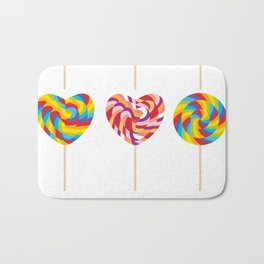 lollipops, colorful spiral candy cane with twisted design Bath Mat