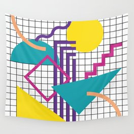 Memphis Pattern - 80s Retro White Wall Tapestry