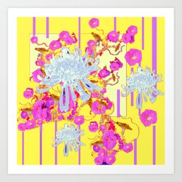 Modern Yellow Art White Spider Mums Pink Flowers Garden Art Art Print